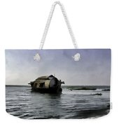 Digital Oil Painting - A Houseboat Moving Placidly Through A Coastal Lagoon Weekender Tote Bag