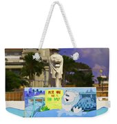 Digital Oil Painting - Statue Of The Merlion With A Banner Weekender Tote Bag