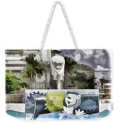 Digital Oil Painting - Statue Of The Merlion With A Banner Below The Statue And With Bu Weekender Tote Bag