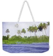 Digital Oil Painting - Water Rippling In The Coastal Lagoon Weekender Tote Bag
