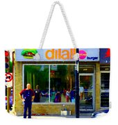 Dilallo Burger Notre Dame Ouest And Charlevoix  Montreal Art Urban Street Scenes Carole Spandau Weekender Tote Bag