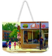 Dilallo Notre Dame Ouest And Charlevoix Sunny Street Montreal Urban City Scene Carole Spandau Weekender Tote Bag