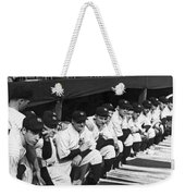 Dimaggio In Yankee Dugout Weekender Tote Bag by Underwood Archives