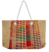 Dime Building Iconic Buildings Of Detroit Watercolor On Worn Canvas Series Number 1 Weekender Tote Bag by Design Turnpike
