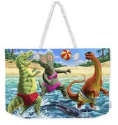 dinosaur fun playing Volleyball on a beach vacation Weekender Tote Bag