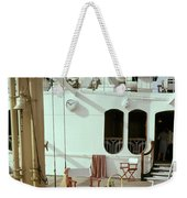 Directors Chairs In Front Of The Ship The Queen Weekender Tote Bag
