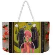 Disappearance Of The Woman And Her Own Two Stone Children With Clouds On Wheels - Framed Weekender Tote Bag