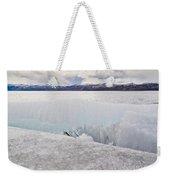 Disintegrating Candelized Melting Ice On Lake Shore Weekender Tote Bag