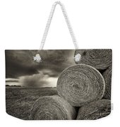 Distant Thunderstorm Approaches Hay Bales E90 Weekender Tote Bag