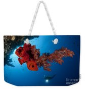 Diver Looks On At A Bright Red Soft Weekender Tote Bag