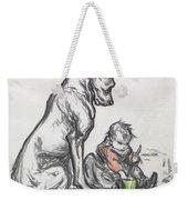 Dog And Child Weekender Tote Bag by Robert Noir