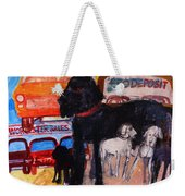 Dog At The Used Car Lot, Rex Gouache On Paper Weekender Tote Bag
