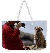 Dog Being Photographed Weekender Tote Bag by Terri Waters