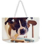 Dog Eating Biscuits At Table Weekender Tote Bag