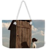 Dog Guarding An Outhouse Weekender Tote Bag by Daniel Eskridge