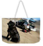 Dog In Front Of A Climbers Car Weekender Tote Bag
