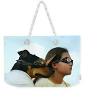 Dog Is My Co-pilot Weekender Tote Bag by Laura Fasulo