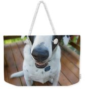 Dog On A Wooden Deck Weekender Tote Bag