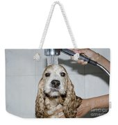 Dog Taking A Shower Weekender Tote Bag by Mats Silvan
