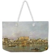 Doges Palace And View Of St. Marks Basin, Venice Oil On Canvas Weekender Tote Bag