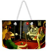 Dogs Playing Pool Wall Art Unknown Painter Weekender Tote Bag