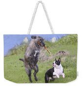 Dogs Playing With Stick Weekender Tote Bag
