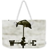 Dolphins Weathervane In Sepia Weekender Tote Bag by Ben and Raisa Gertsberg