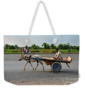 Donkey Cart Driver And Motorcycle On Pakistan Highway Weekender Tote Bag
