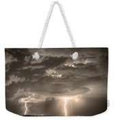 Double Lightning Strikes In Sepia Hdr Weekender Tote Bag by James BO  Insogna