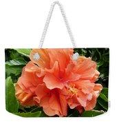 Double Peach Hibiscus Weekender Tote Bag