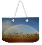 Double Rainbow Over A Field In Maui Weekender Tote Bag