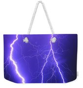 Double Triple Blue Lightning Weekender Tote Bag