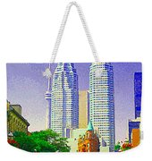 Downtown Core Flatiron Building And Cn Tower Toronto City Scenes Paintings Canadian Art Cspandau Weekender Tote Bag