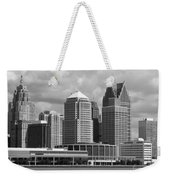 Downtown Detroit Riverfront Bw Weekender Tote Bag