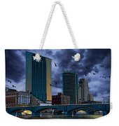 Downtown Grand Rapids Michigan By The Grand River With Gulls Weekender Tote Bag
