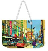Downtown Montreal Eatons Centre Complex Les Ailes Old Navy Rue Mcgill College City Scenes  C Spandau Weekender Tote Bag