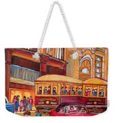 Downtown Montreal-streetcars-couple Near Red Fifties Mustang-montreal Vintage Street Scene Weekender Tote Bag