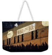 Downtown Seattle With Silhouetted Runners On Brick Wall Early Mo Weekender Tote Bag