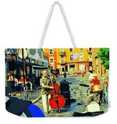 Downtown Street Musicians Perform At The Coffee Shop With Cool Tones On A Hot Summer Day Weekender Tote Bag