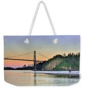 Downtown Vancouver And Lions Gate Bridge At Twilight Weekender Tote Bag by Eti Reid