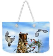 Downy And Titmouse Playing On Lichen Stump Weekender Tote Bag