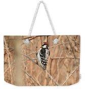 Downy Woodpecker In Brush Weekender Tote Bag