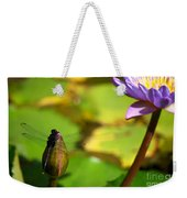 Dragon Fly On Bud And Water Lily Horizontal Number One Weekender Tote Bag