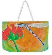 Dragonfly On Red Flower Weekender Tote Bag