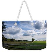 Dramatic Blustery Sky Over The Hayfield Weekender Tote Bag