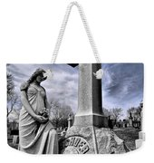 Dramatic Gravestone With Cross And Guardian Angel Weekender Tote Bag