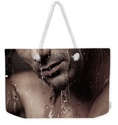 Dramatic Portrait Of Young Man Under A Shower Weekender Tote Bag