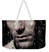 Dramatic Portrait Of Young Man Wet Face With Long Hair Weekender Tote Bag