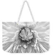 Dramatic White Dahlia Flower Monochrome Weekender Tote Bag