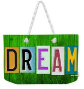 Dream License Plate Letter Vintage Phrase Artwork On Green Weekender Tote Bag